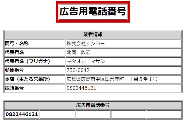 株式会社シンヨーの広告用・営業用電話番号の画像