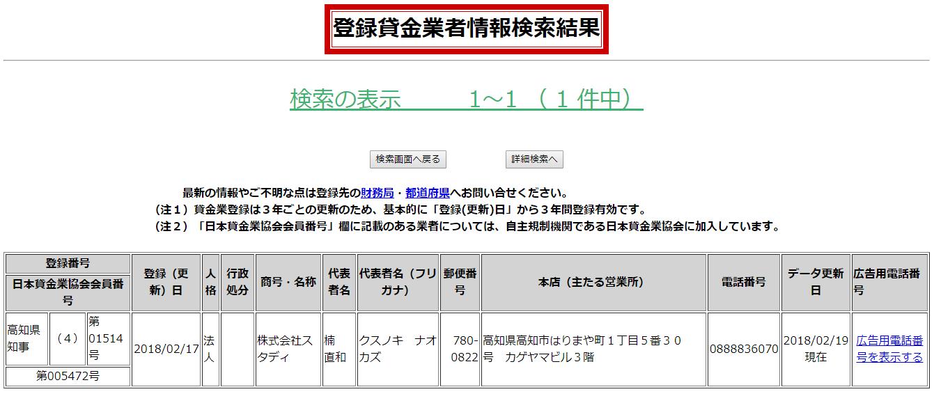 株式会社スタディ登録貸金業者情報検索の画像