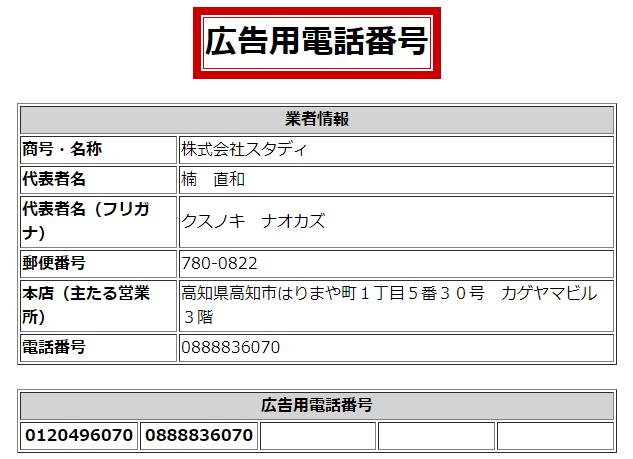株式会社スタディの広告用・営業用電話番号の画像
