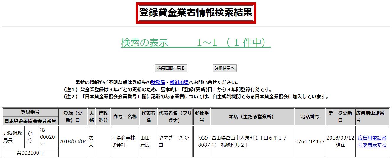 三県商事の貸金業者情報検索結果の画像