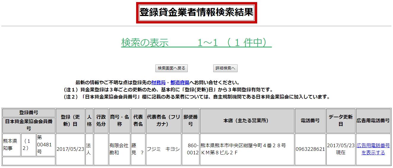 ソフトファイナンスキャッスルの貸金業者情報検索結果の画像