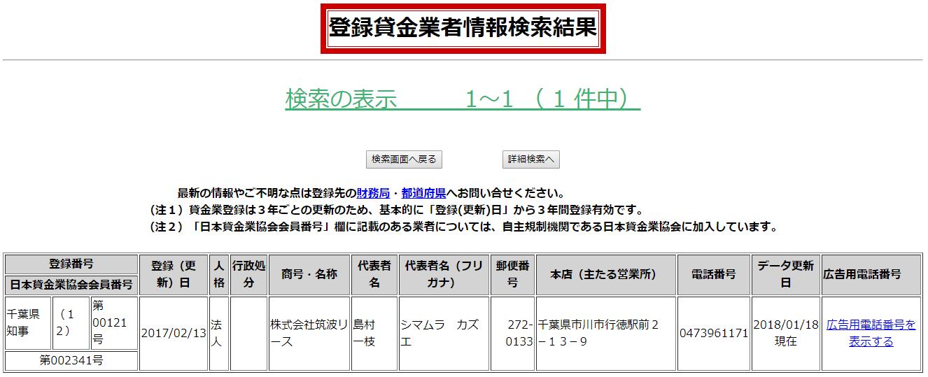 筑波リースの貸金業者情報検索結果の画像