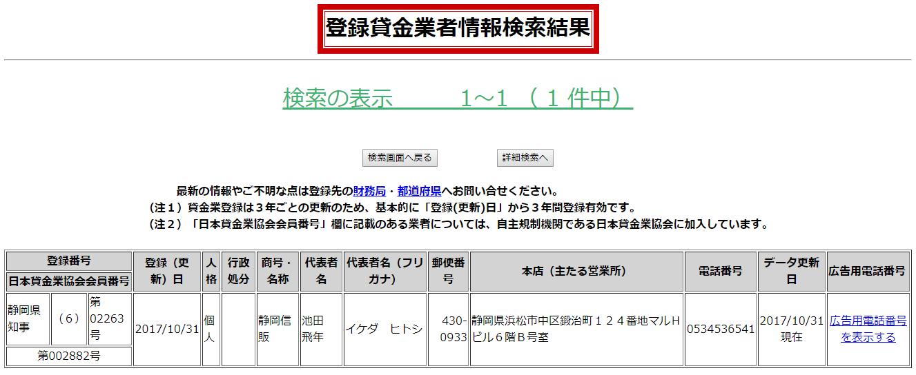 静岡信販の貸金業者情報検索結果の画像