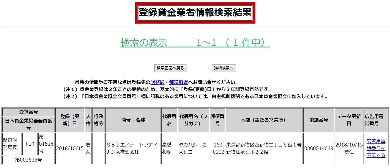 SBIエステートファイナンスの貸金業者情報検索結果の画像