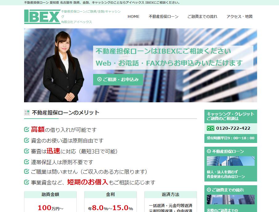 アイベックスのホームページの画像