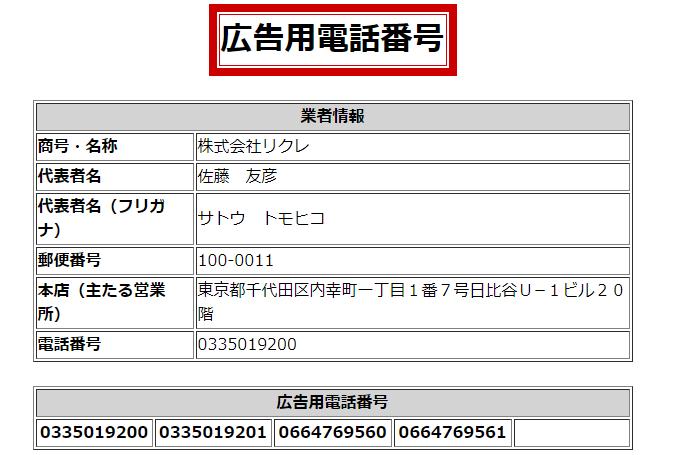 株式会社リクレの広告用電話番号の画像