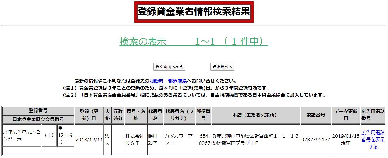 株式会社KSTの貸金業者情報検索結果の画像