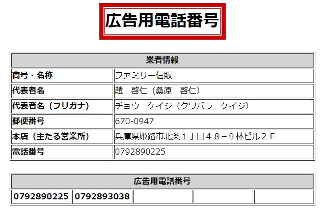 ファミリー信販の広告用電話番号の画像